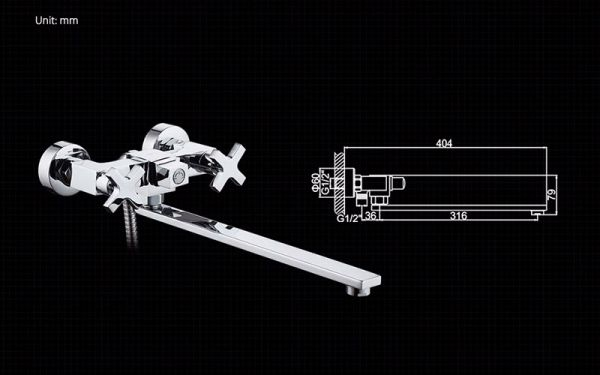 "смеситель ванна ""LEDEME"" 1/2"" крест керамика, плоский излив L35F-2, дивертор в корпусе (L2584)"