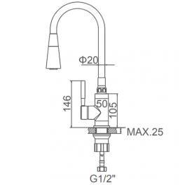 """смеситель кухня """"LEDEME"""" картридж 35 мм. силиконовый излив, хром черный (L4199-2)"""