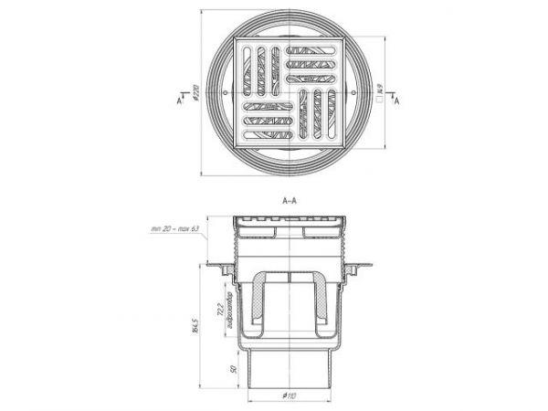 ANI трап вертикальный выпуск 110 мм металл 15*15 (ТА1712)