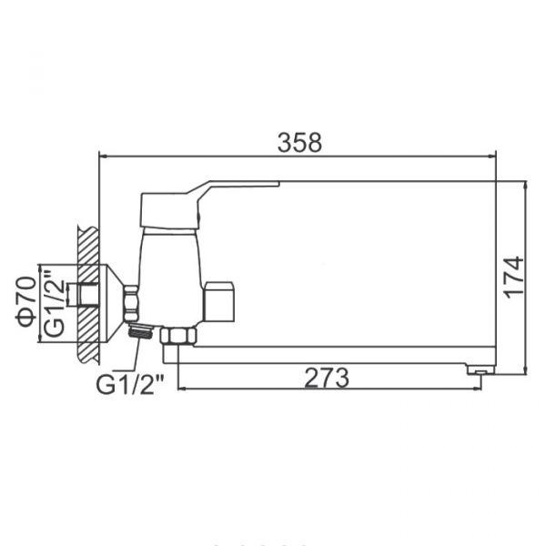 "смеситель ванна ""LEDEME"" картридж 40 мм. плоский излив L30, дивертор в корпусе (L2263)"