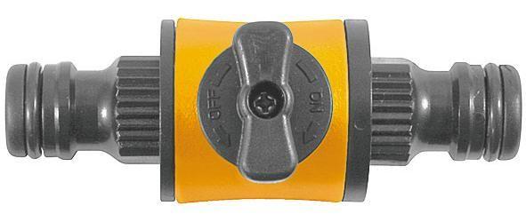 FIT переходник для поливочного шланга с соединителями и запорным клапаном пл. арт.77756 (быстросъем)