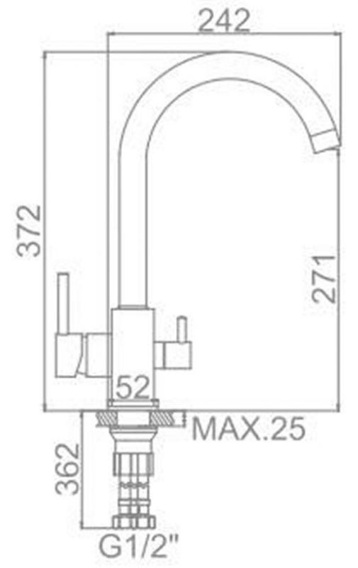 """смеситель кухня """"LEDEME"""" картридж 35 мм. излив 20см. крепеж гайка, выход для питьевой воды (L4255-3)"""