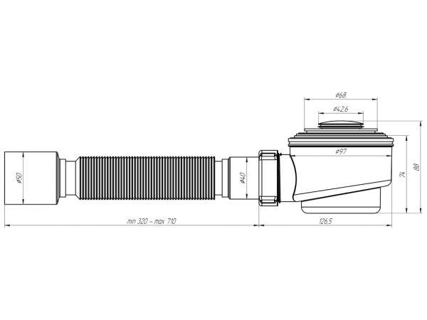 """ANI сифон для душевого поддона 1.1/2"""" *50 клик-клак, хром, гибкая труба арт.E415CLS"""