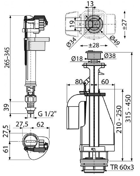 """арматура для бачка с нижним впуском 1/2"""" пластиковая резьба с двойной кнопкой SA08АS ALCAPLAST"""