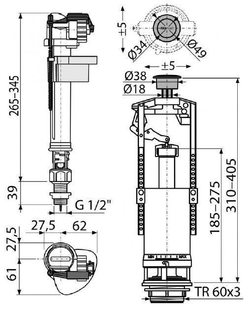 "арматура для бачка с нижним впуском 1/2"" пластиковая резьба со стоп - кнопкой SA2000S ALCAPLAST"