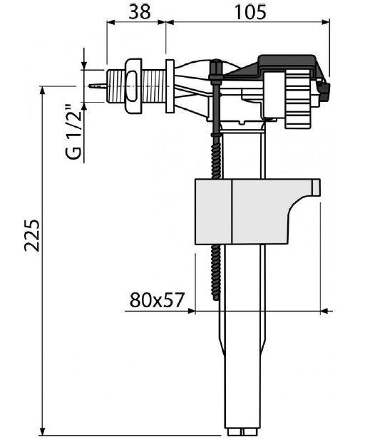 """клапан впуска для бачка боковой 1/2"""" пластиковая резьба А15 ALCAPLAST"""