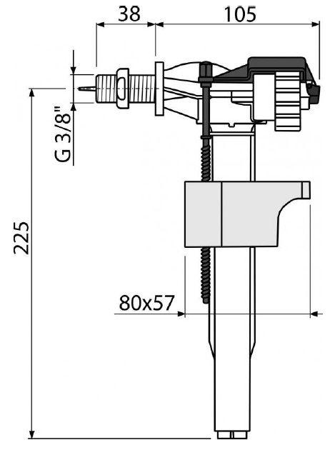 "клапан впуска для бачка боковой 3/8"" латунная резьба A16 ALCAPLAST"