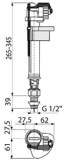 """клапан впуска для бачка нижний (с регулировкой высоты) 1/2"""" латунная резьба A18 ALCAPLAST"""