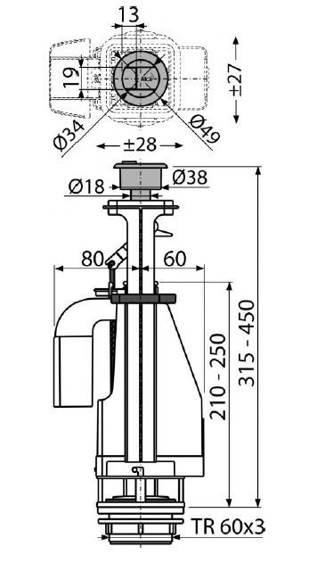 сливной механизм с двойной кнопкой A08A ALCAPLAST