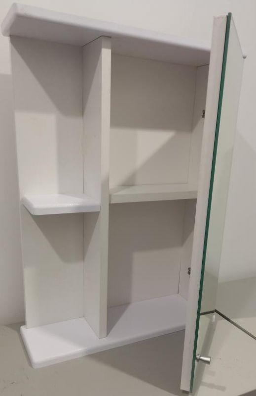Шкафчик для ванной с зеркалом 600х430х140 (выс*шир*гл) 1 полка, полка слева, дверца правая, белый