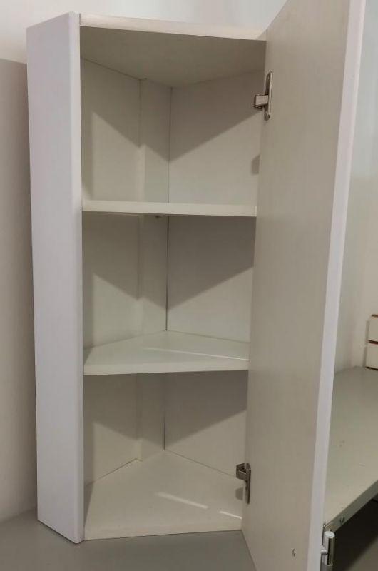 Шкафчик для ванной угловой 800х320х320 (выс*шир*гл) 2 полки, дверца правая, белый