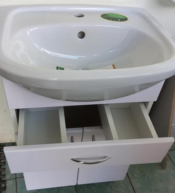 Тумба Уют 500 с раковиной, с ящиком, белая