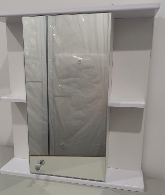 Шкафчик для ванной с зеркалом 590х550х140 (выс*шир*гл) 1 полка справа и слева, дверца правая, белый