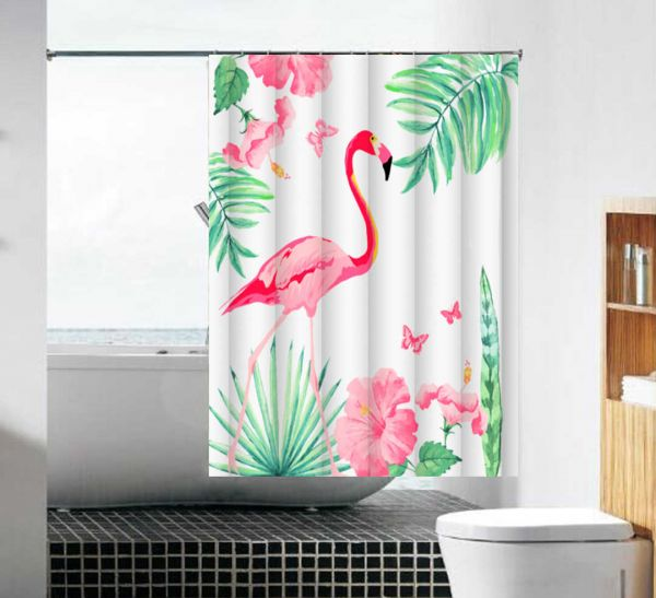 "шторка для ванны тканевая 180*180 см MZ-103 ""Розовый фламинго"""