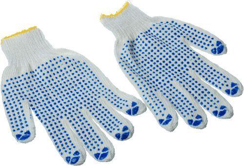 перчатки вязаные белые ПВХ 4 нити 7 класс Стандарт (Россия)