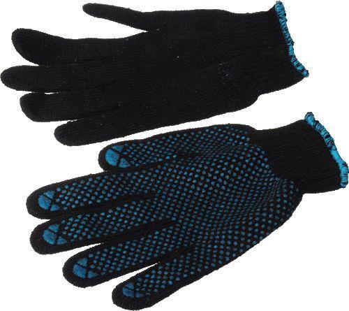 перчатки вязаные черные ПВХ 5 нитей 7 класс Люкс (Россия)