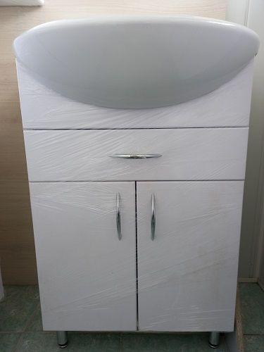 Тумба Уют 550 с раковиной, с ящиком, белая