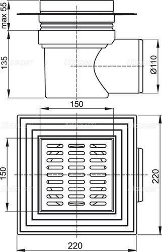 ALCAPLAST трап 150*150/110 мм угловой нержавеющая решетка (APV12)