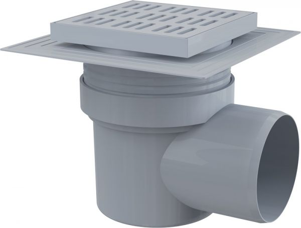 ALCAPLAST трап 150*150/110 мм угловой пластиковая решетка (APV10)