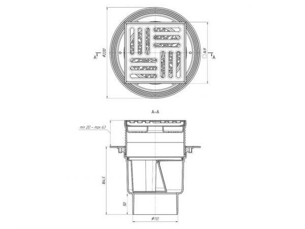 ANI трап вертикальный выпуск 110 мм нержавеющая решетка 15*15 регулирующий (ТQ1712) (сухой затвор)