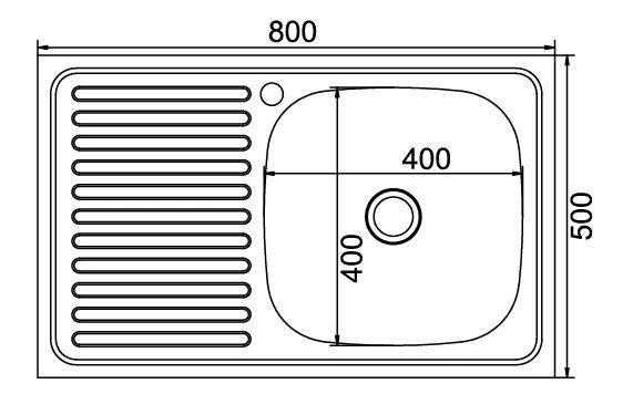 мойка нержавеющая накладная 800x500 x180 0.8мм (левая чашка) арт.MP-10