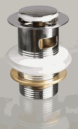 TERMA донный клапан CLICK-CLACK с переливом, с маленькой кнопкой, хром арт.10100