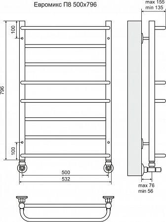 полотенцесушитель НЕРЖ. лесенка Евромикс П8 500*796*135 подкл. нижнее арт.4670030723123