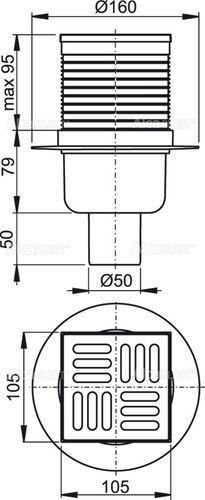 ALCAPLAST трап 105*105/50 мм прямой нержавеющая решетка SMART (APV32)