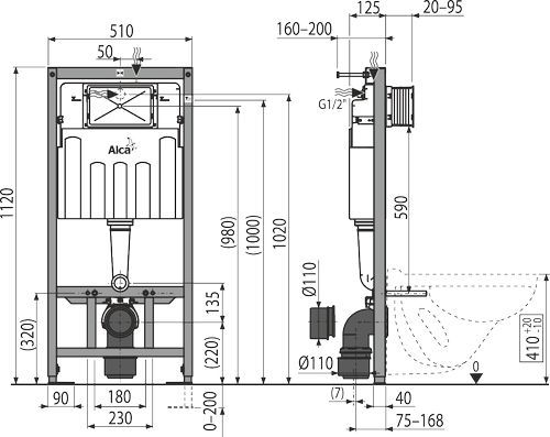 Система инсталляции 5 в1 подвесной унитаз Альфа Santeri с мет. рамой AМ101/1120 (М71,М91) ALCAPLAST