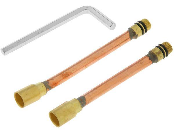 удлинитель для подводки к смесителю латунь (125мм+110мм) пара с ключом 20803