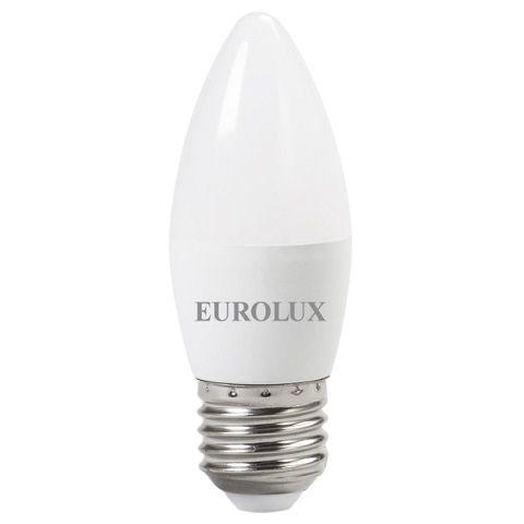Лампа светодиодная LL-E-C37-6W-230-2.7K-E27 EUROLUX (свеча, 6ВТ, теплый свет, Е27)