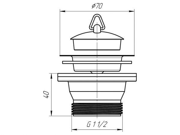 """ANI выпуск для мойки 1.1/2"""" (40мм) с пробкой, резьба под гайку Ду40 арт.M105"""