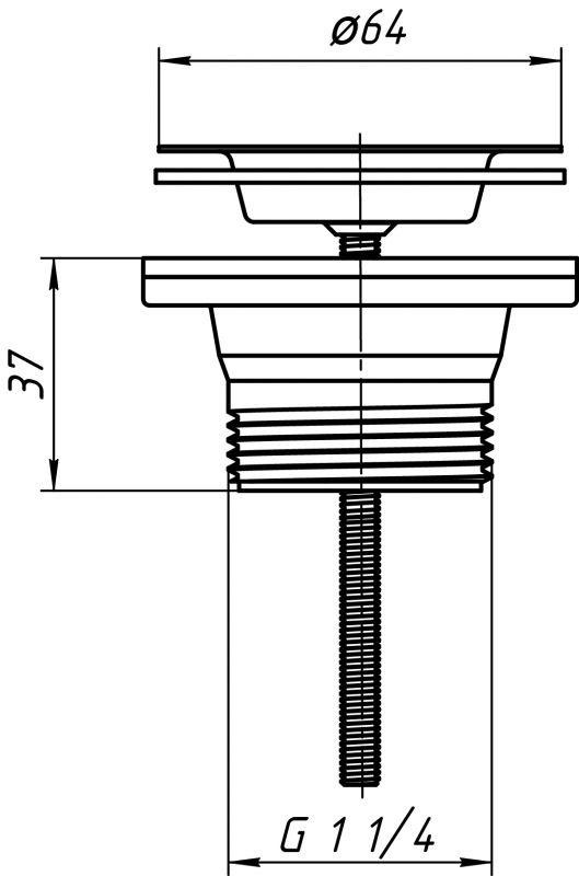 """ANI выпуск для мойки 1.1/4"""" (32мм) резьба под гайку Ду32 арт.M200"""