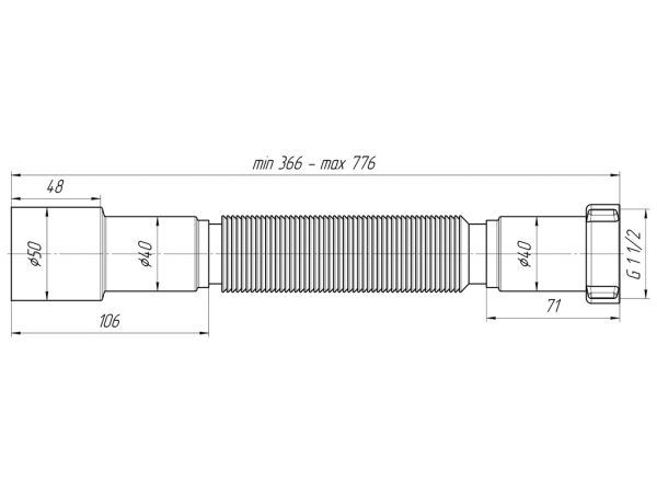 "ANI гофра 1.1/2"" (гайка 40мм) универсальный выход 40/50, L800мм арт.K106"