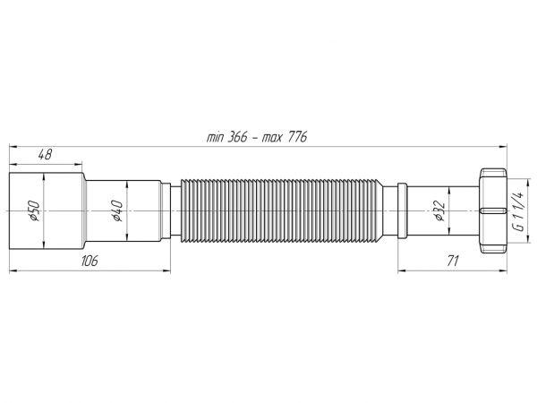 """ANI гофра 1.1/4"""" (гайка 32мм) универсальный выход 40/50, L800мм арт.К206"""