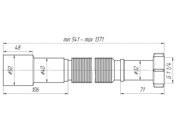 """ANI гофра 1.1/4"""" (гайка 32мм) универсальный выход 40/50, удлиненная, L1300мм арт.K216"""