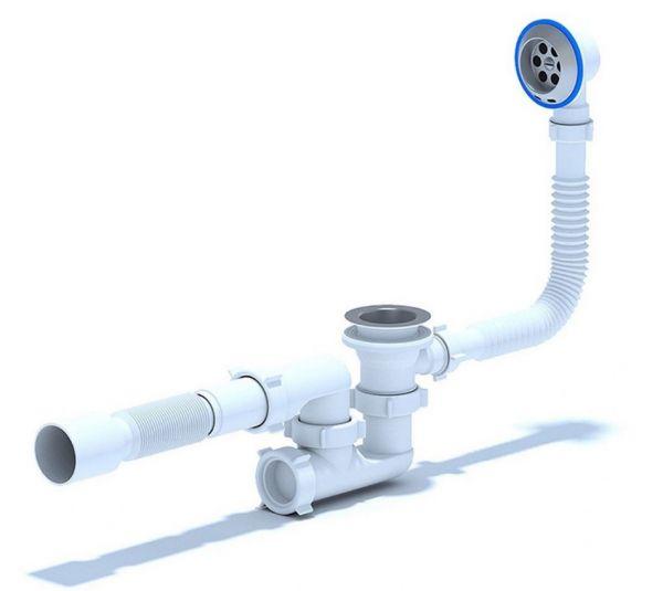 "ANI обвязка для ванны 1.1/2"" *40 регулируемая с переливом, гофра выход на 50 арт.Е255"