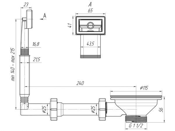 """ANI выпуск для мойки 3.1/2"""" (90мм) с прямоугольным переливом, жестким арт.N305"""