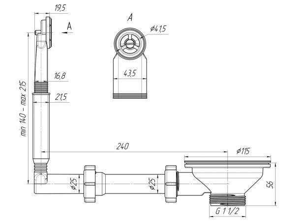 """ANI выпуск для мойки 3.1/2"""" (90мм) с круглым вертикальным переливом, жестким арт.N320"""