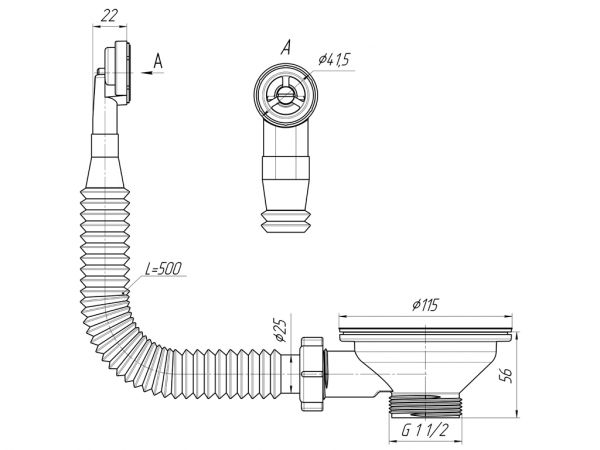 "ANI выпуск для мойки 3.1/2"" (90мм) с круглым вертикальным переливом, гибким арт.N320S"