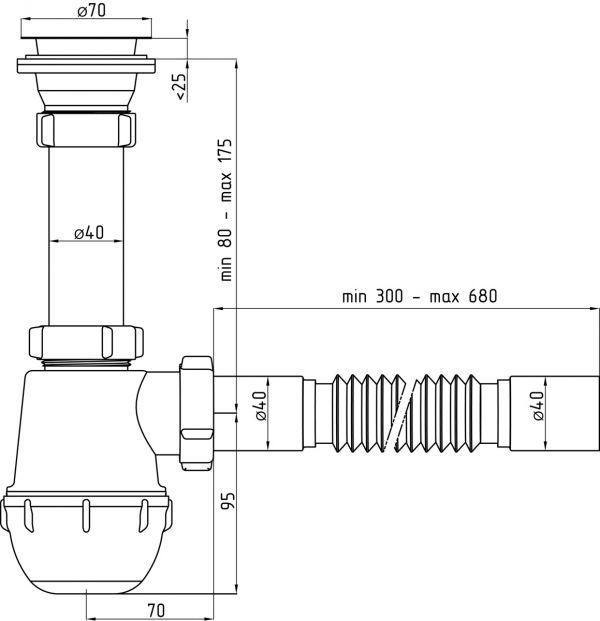 "ANI сифон - grot 1.1/2"" (гайка 40мм) разборный выпуск, гофра 40 арт.A0105"