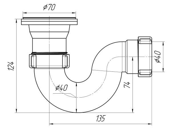 "ANI сифон для душевого поддона 1.1/2"" (гайка 40мм) литой арт.E110"