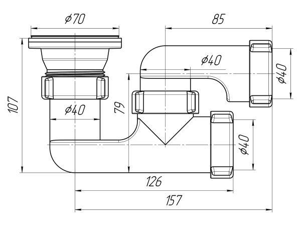 "ANI сифон для душевого поддона 1.1/2"" (гайка 40мм) регулируемый арт.E210"