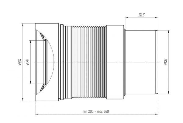 ANI слив для унитаза с гладким выпуском 110мм арт.K821