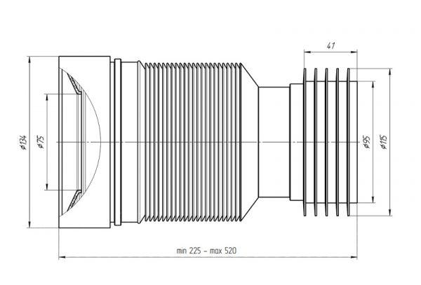 ANI слив для унитаза с мягким выпуском арт.K828