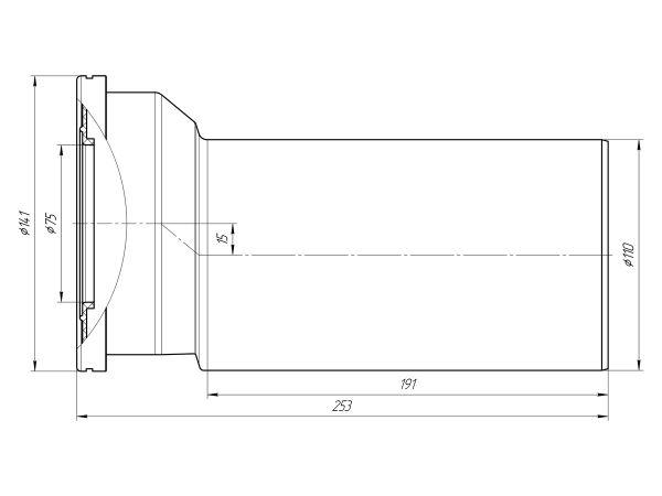 ANI труба фановая для унитаза прямая Ду110/L250 эксцентрик 15мм арт.W1225