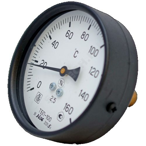 """термометр бимет. ТБ-100  0...160С, д.100, шток L= 50 мм, горизонтальный G 1/2"""""""
