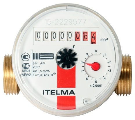 Счетчик горячей воды ITELMA (Ду=15мм, L=80мм)