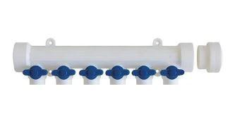 PPRC KALDE коллектор с кранами 6-вых (синяя ручка)