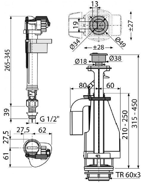 """арматура для бачка с нижним впуском 1/2"""" латунная резьба с двойной кнопкой SA08ASK CHROM ALCAPLAST"""